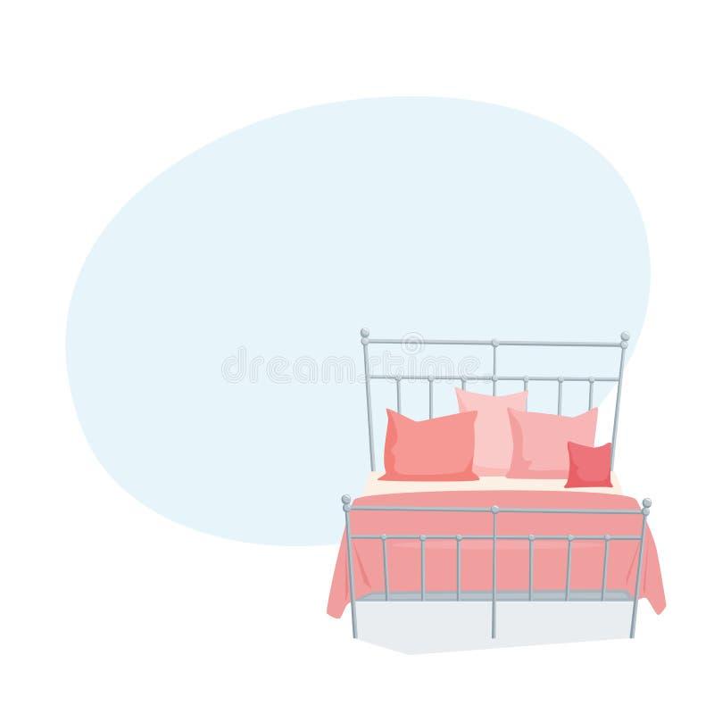 Двуспальная кровать и подушка иллюстрация штока
