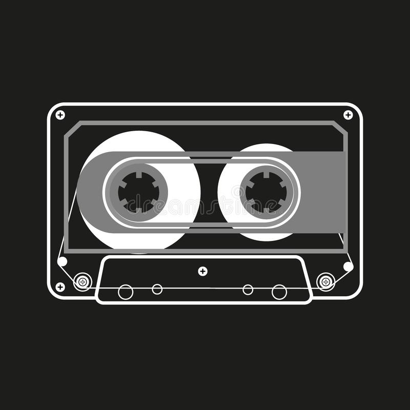 Двухкатушечные кассеты черно-белой иллюстрации вектора компактные на черной предпосылке иллюстрация штока