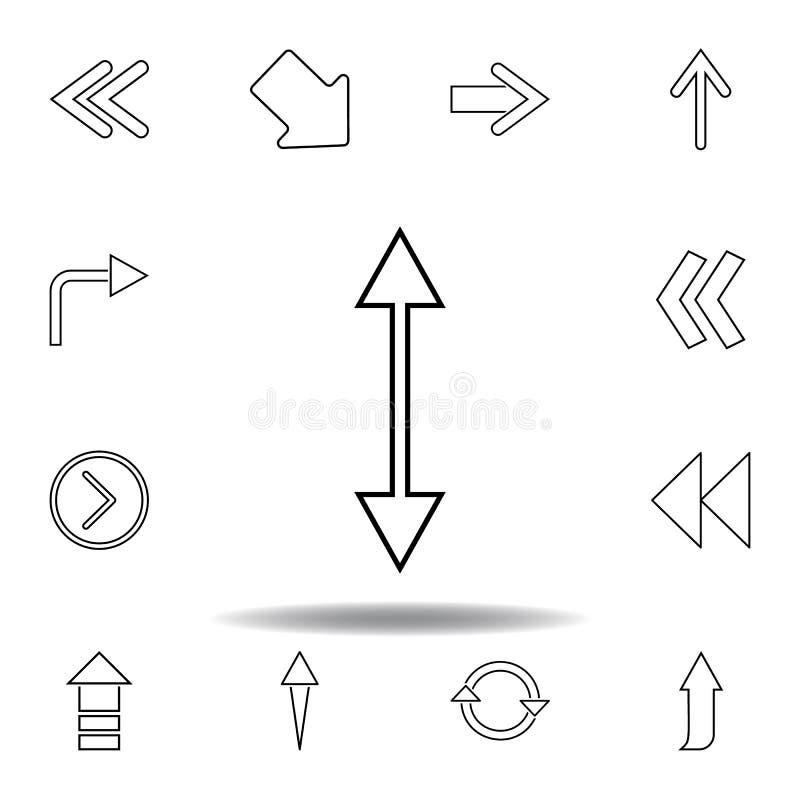 двухсторонний значок стрелки Тонкая линия значки установила для дизайна вебсайта и развития, развития приложения r иллюстрация штока