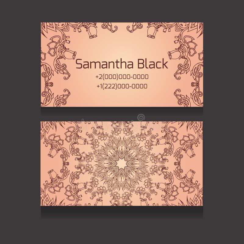 Двухсторонняя визитная карточка с племенным цветочным узором иллюстрация вектора