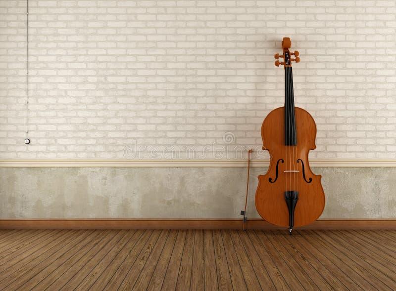 Двух-бас в пустой ретро комнате бесплатная иллюстрация