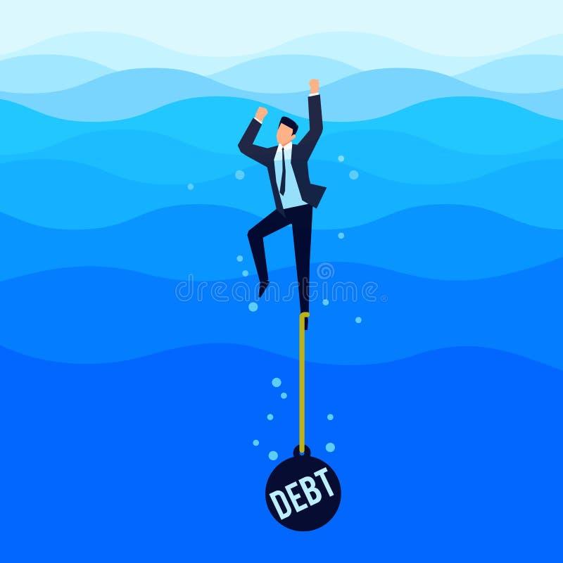дебитор Концепция задолженности Бизнесмен тонет в море иллюстрация вектора
