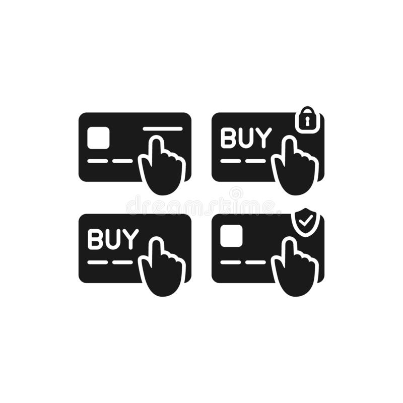 Дебит и набор значка глифа черноты выплаты по кредитной карточке Онлайн ходя по магазинам значки вектора кнопки оплаты бесплатная иллюстрация