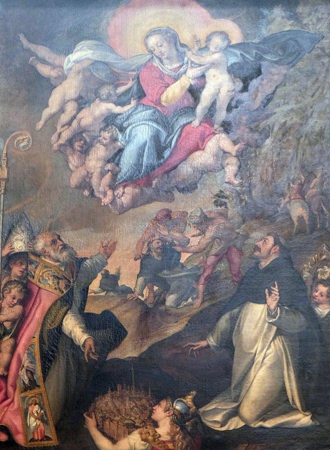 Дева мария с младенцем Иисусом и Святыми стоковое изображение rf