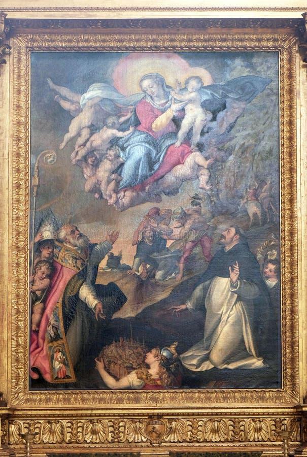 Дева мария с младенцем Иисусом и Святыми стоковая фотография rf