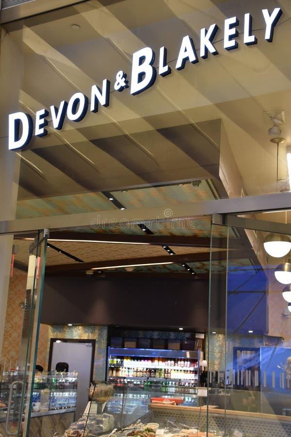 Девон и Blakely на Oculus эпицентра деятельности транспорта всемирного торгового центра Westfield в Нью-Йорке стоковые фото