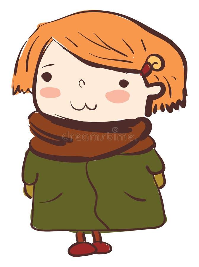Девочка в тёплой зимней одежде или цветной иллюстрации иллюстрация штока