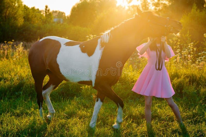 Девочка-подросток в розовом платье идя с лошадью на заходе солнца стоковые фото