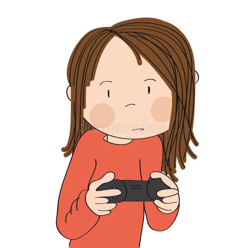 Девочка-подросток играя видеоигры на консоли игры, кнюппеле удерживания, очень концентрируемый иллюстрация вектора