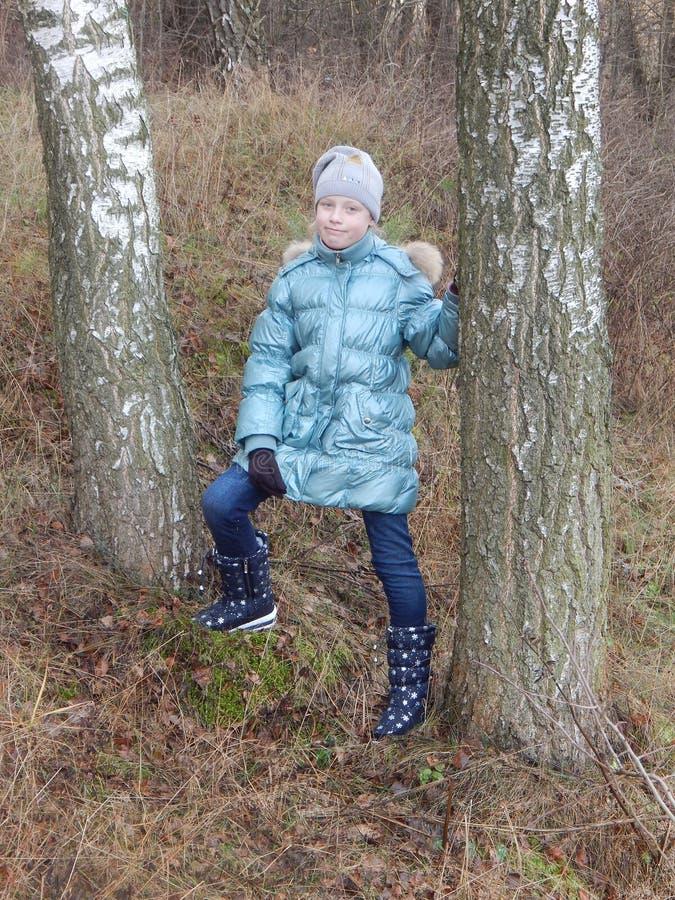 Девочка-подросток между 2 березами стоковая фотография rf