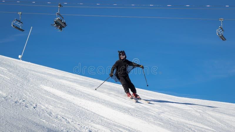 Девочка-подросток одетый в костюме летучей мыши наслаждаясь покатым катанием на лыжах на свежо выхоленном горнолыжном склоне стоковые фотографии rf