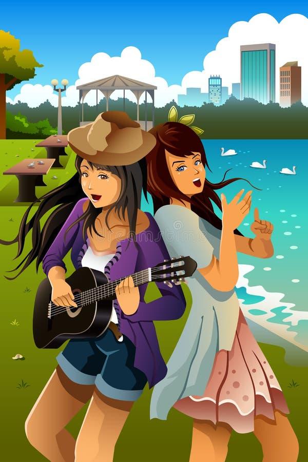 Девочка-подростки поя и играя гитару совместно иллюстрация вектора