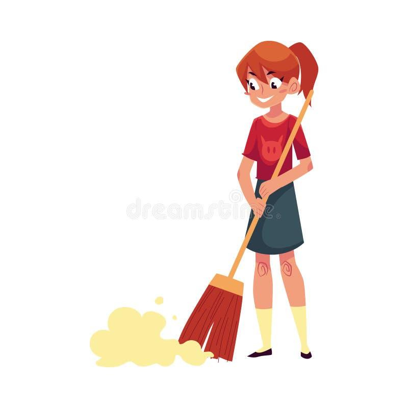 Девочка-подросток помогая убрать дом, широкий пол с веником иллюстрация вектора