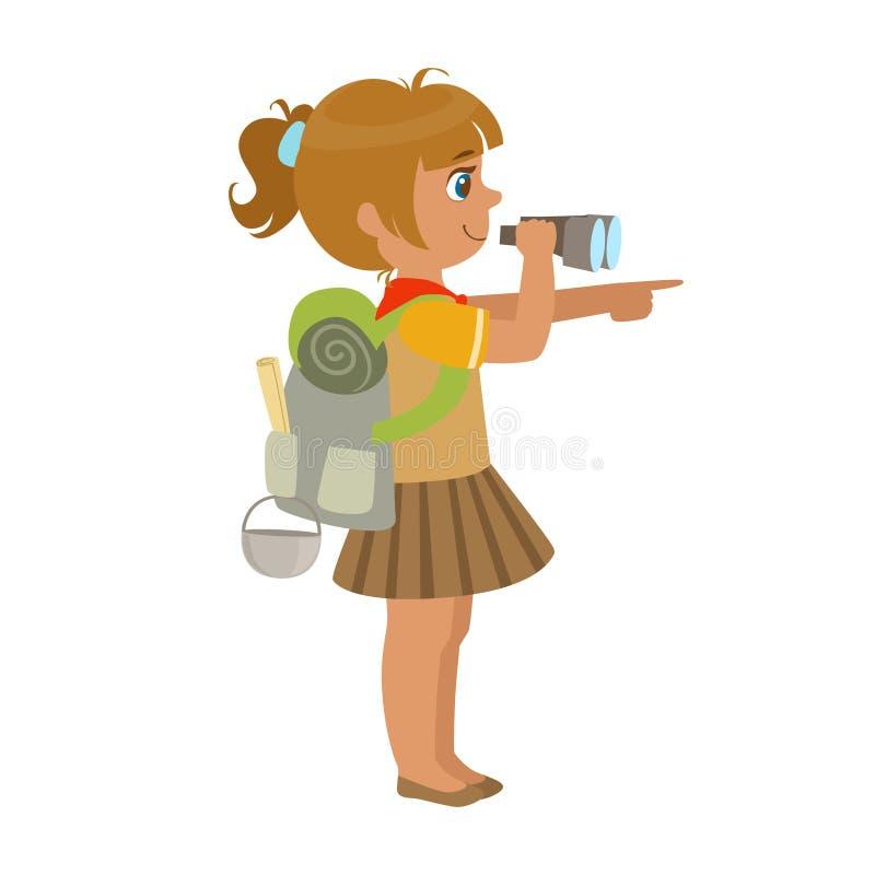 Девочка-скаут нося рюкзак и смотря через бинокли, взгляд со стороны, красочный характер иллюстрация вектора