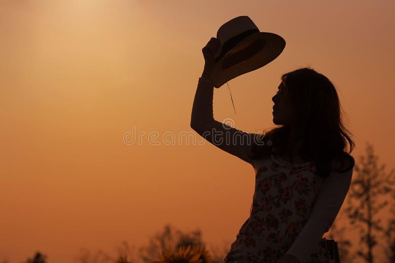 Девушка азиата силуэта стоковая фотография rf