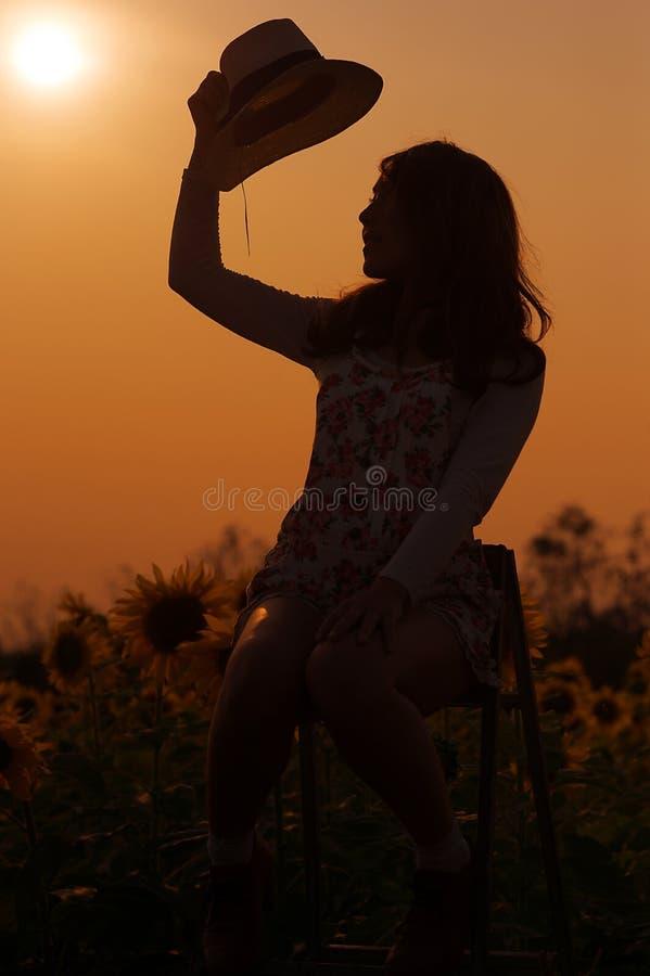 Девушка азиата силуэта стоковое изображение rf
