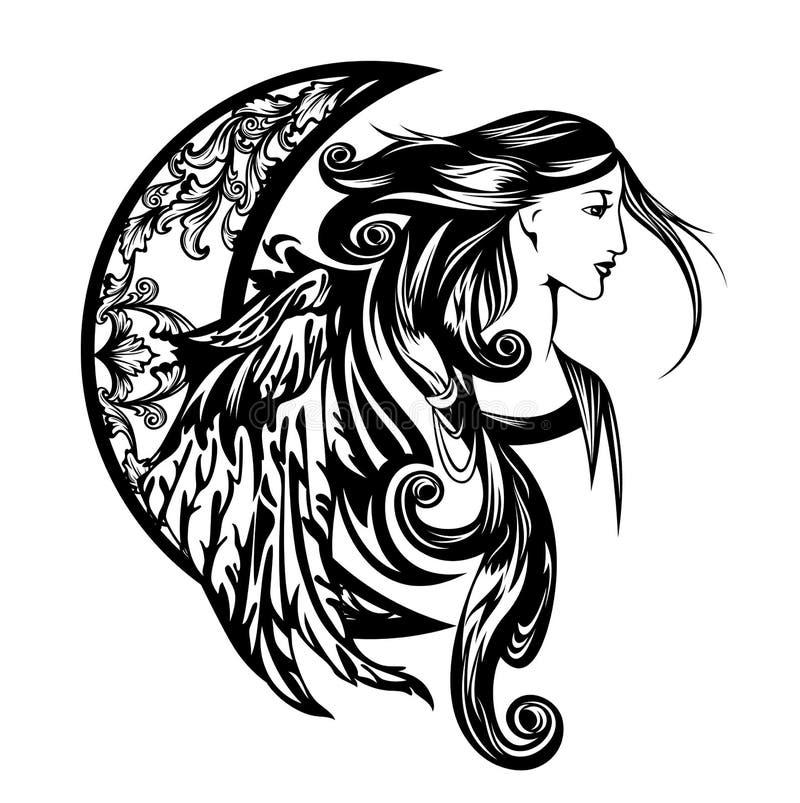 Девушка ангела с дизайном вектора луны серповидным бесплатная иллюстрация