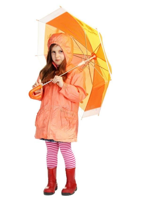 Девушка апельсина весны стоковое изображение