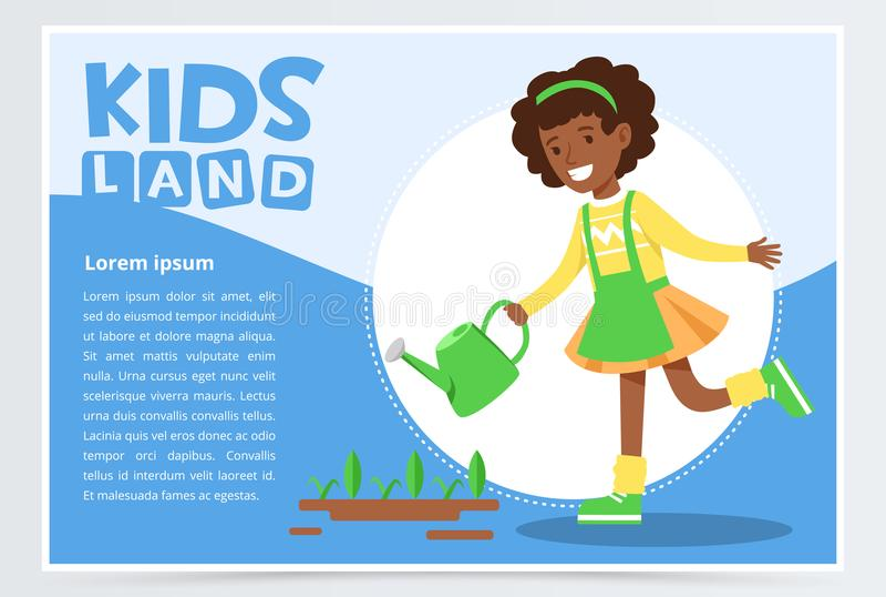 Девушка Афро американская моча заводы с моча чонсервной банкой, концепцией eco, органический садовничать, ягнится вектор знамени  иллюстрация штока