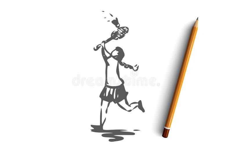 Девушка, бадминтон, ракетка, игра, концепция спорта Вектор нарисованный рукой изолированный иллюстрация вектора