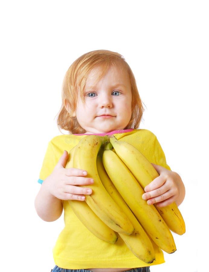 девушка банана стоковое изображение