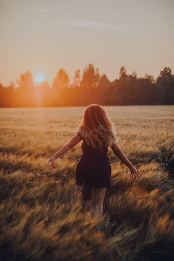 Девушка бежать на подъеме солнца поля стоковые изображения rf