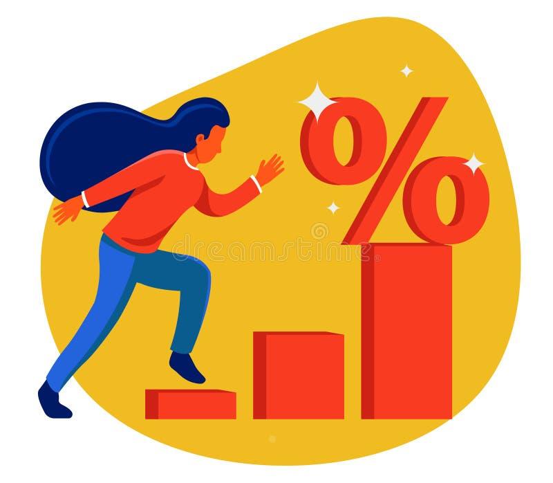 Девушка бежит диаграмма к символу скидки иллюстрация вектора