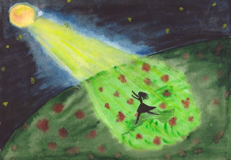 Девушка бежит через поле в лунном свете иллюстрация вектора