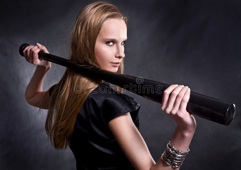 девушка бейсбольной бита стоковые фотографии rf