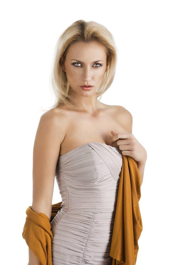девушка белокурого платья шикарная стоковая фотография rf