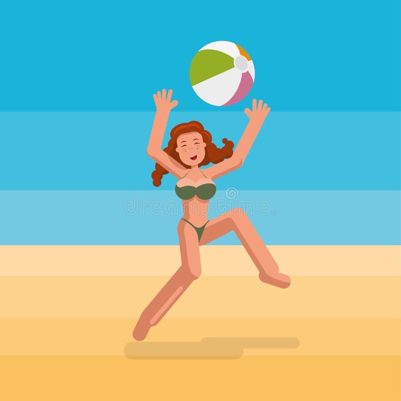 Девушка бикини играя шарик на пляже бесплатная иллюстрация