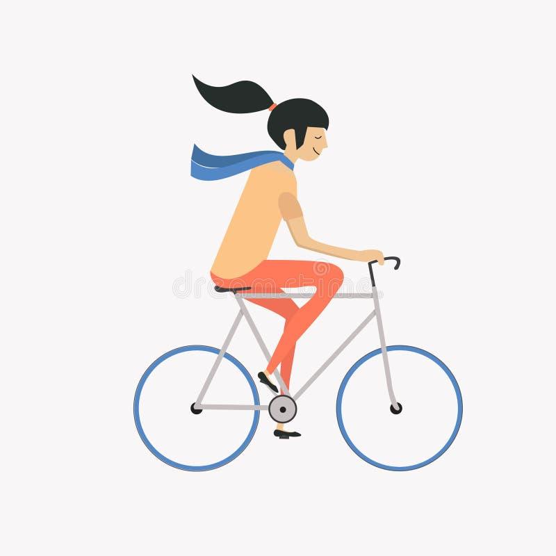 Девушка битника с велосипедом, плоским дизайном стоковые изображения