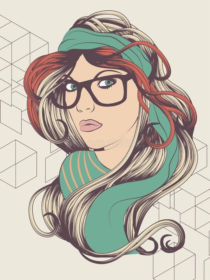 Девушка битника с стеклами иллюстрация штока