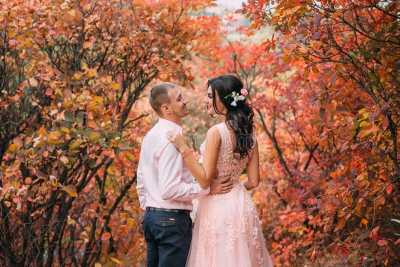 Девушка брюнет в роскошном розовом платье обнимает стильного человека в розовой рубашке и голубых брюках Любящая пара между a стоковое изображение