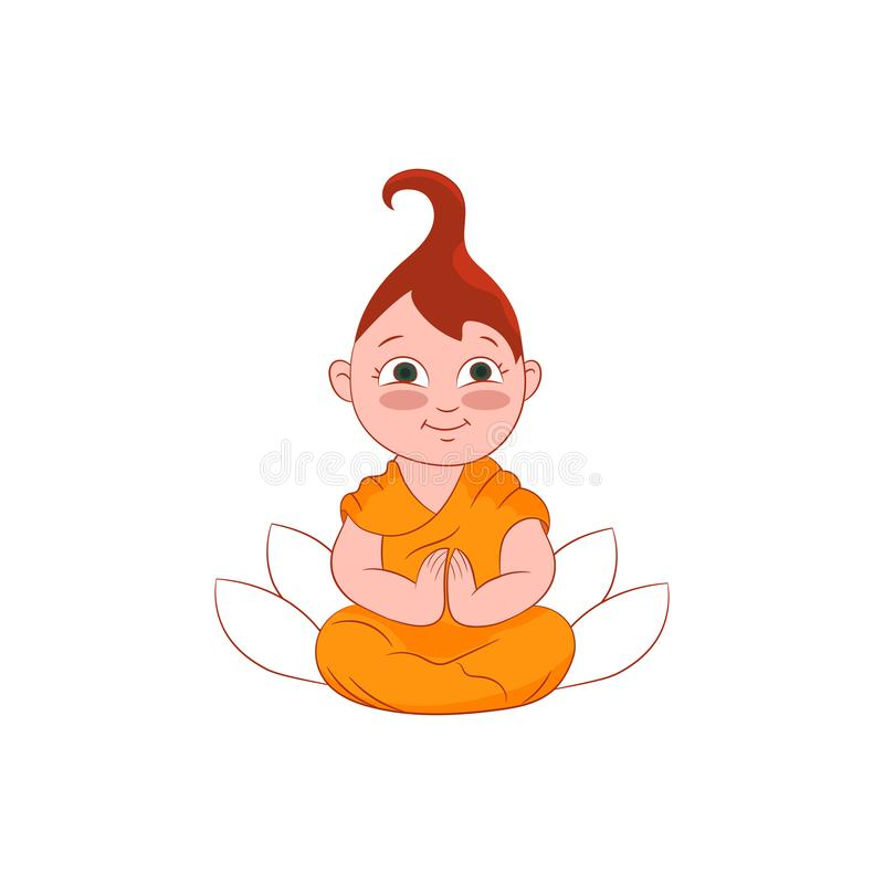 Девушка буддийского монаха в моля иллюстрации позиции с лотосом на предпосылке Плоский значок характера вектора Образ жизни людей иллюстрация вектора