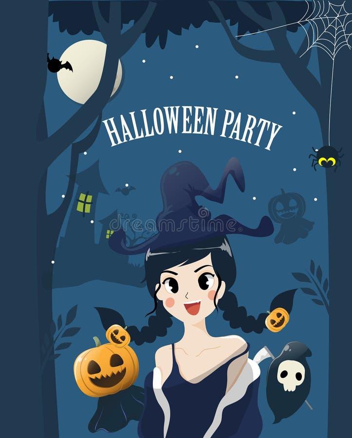 Девушка ведьмы милая в ночи хеллоуина иллюстрация вектора