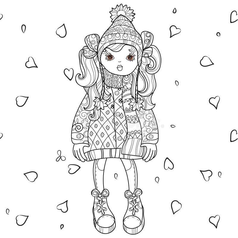 Девушка вектора милая в шляпе зимы иллюстрация штока