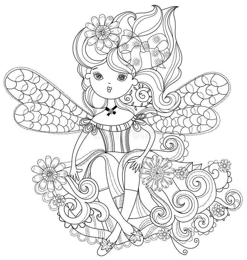 Девушка вектора милая fairy в doodle цветков иллюстрация вектора