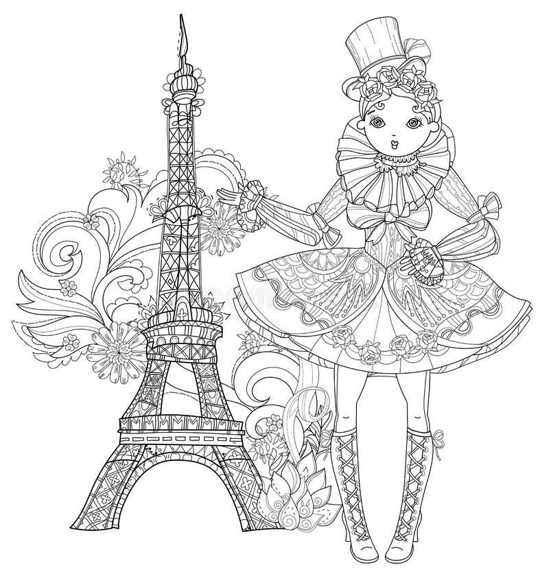 Девушка вектора милая fairy в doodle цветков бесплатная иллюстрация