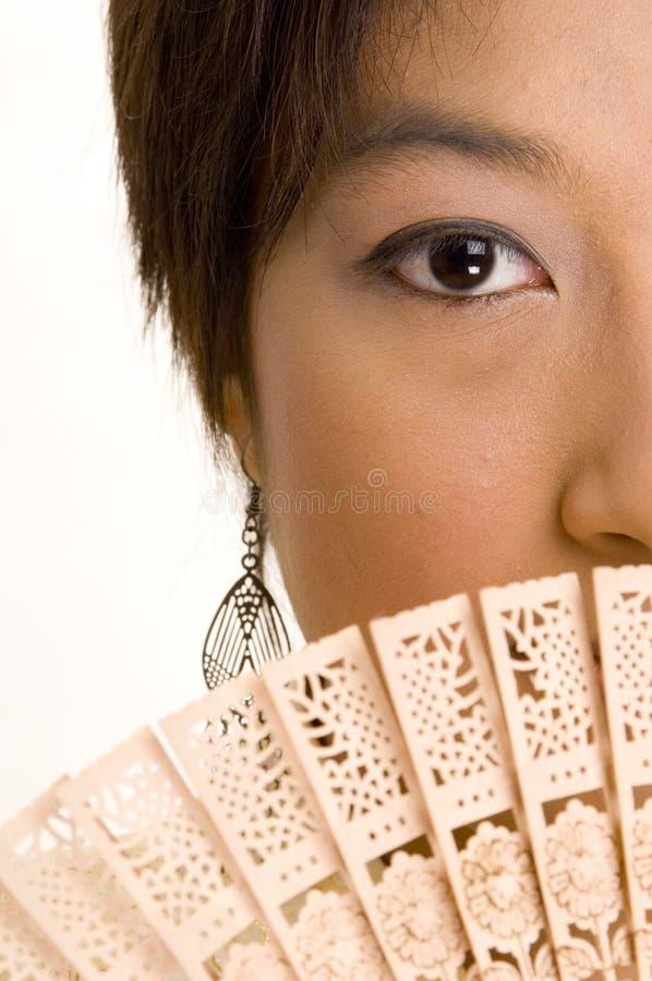 девушка вентилятора 5 азиатов стоковые фото