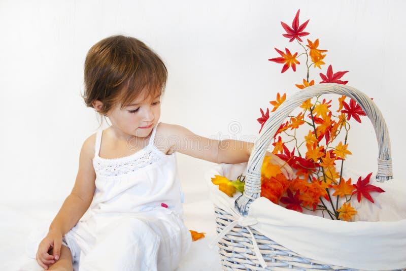 девушка ветви осени стоковое изображение rf