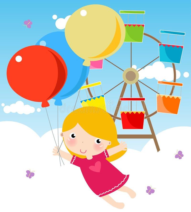 девушка воздушного шара милая иллюстрация вектора