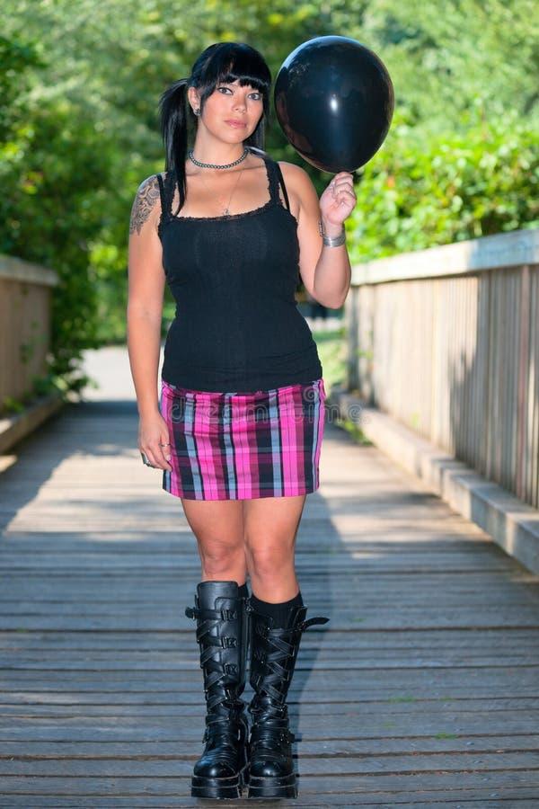 девушка воздушного шара черная стоковые изображения