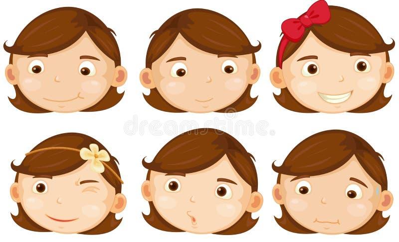 Девушка волос Брайна иллюстрация вектора