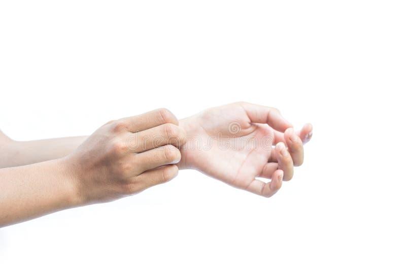 Девушка вручает зудеть в руке на белой предпосылке стоковые изображения rf