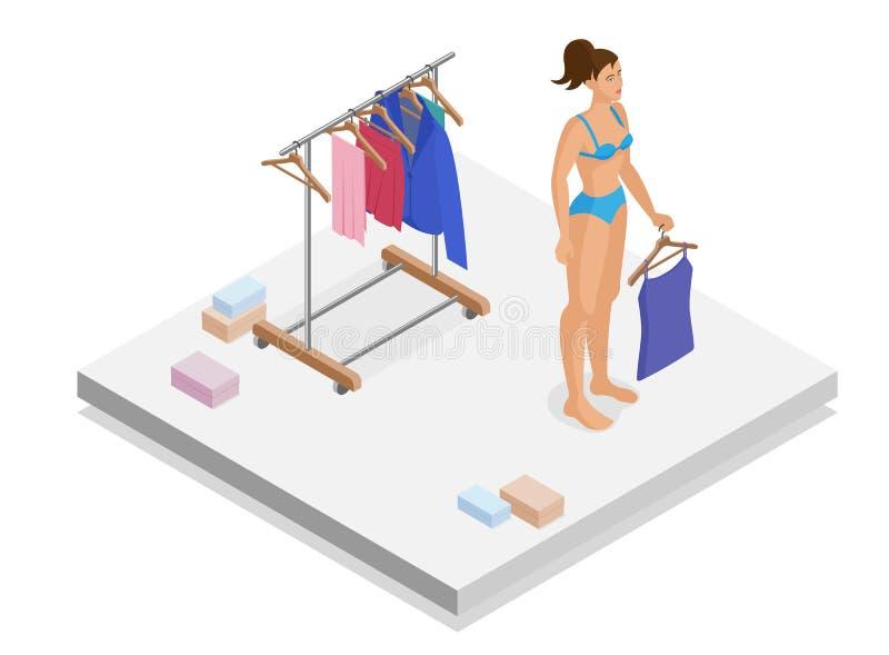 Девушка выбирает одежды в равновеликой комнате Плоская иллюстрация 3d бесплатная иллюстрация