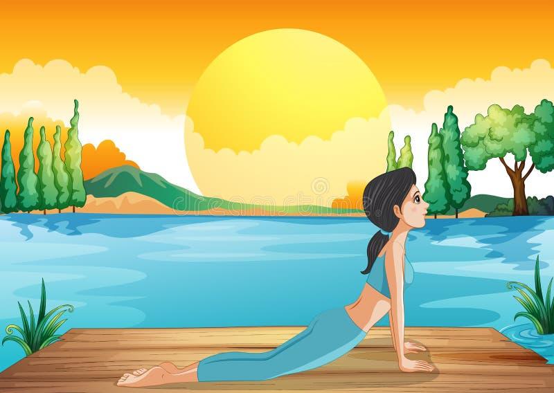 Девушка выполняя йогу вдоль реки иллюстрация вектора