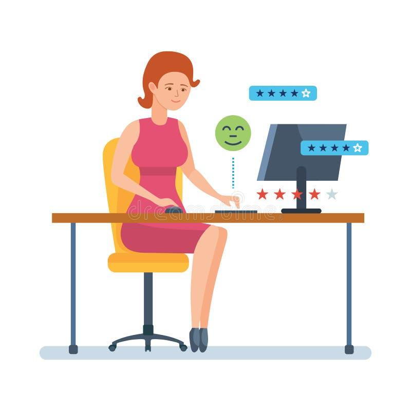 Девушка выходит обзор, классифицировать в применения онлайн магазина бесплатная иллюстрация