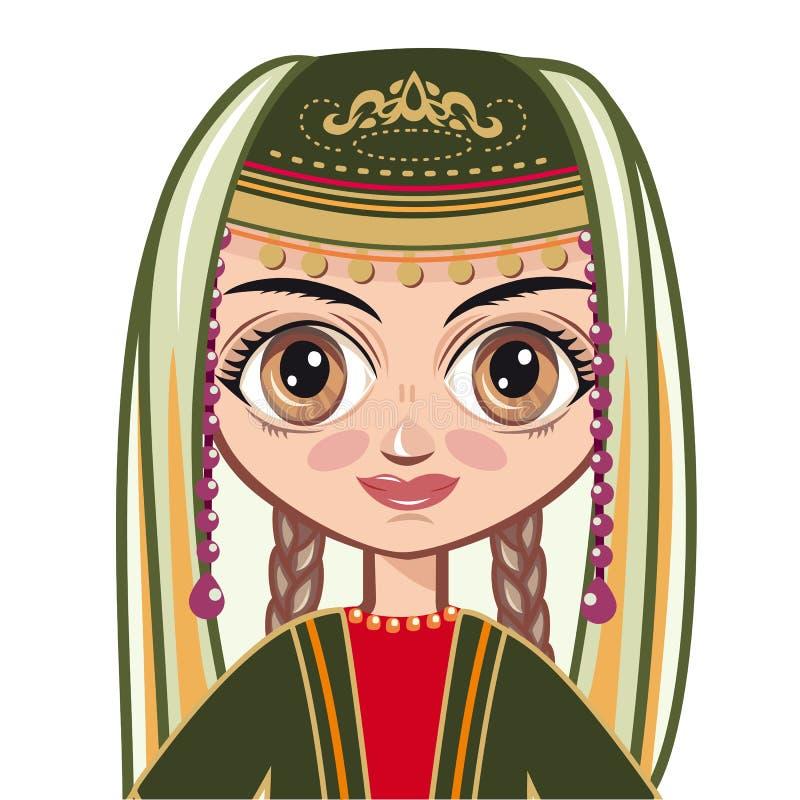 Девушка в армянских национальных одеждах Портрет, воплощение иллюстрация штока