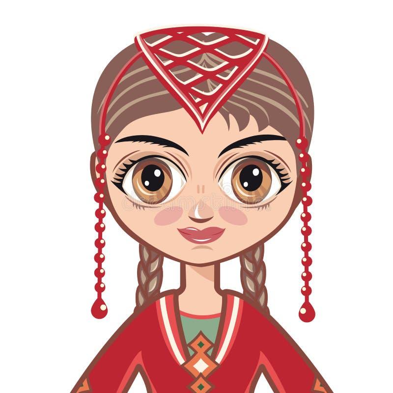 Девушка в армянских национальных одеждах Портрет, воплощение бесплатная иллюстрация